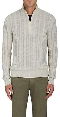 Loro Piana Men's Cable-Knit Cashmere Quarter-Zip Pullover - Light Gray