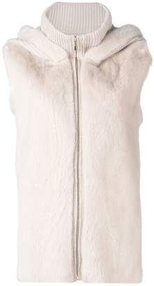 Liska hooded sleeveless jacket