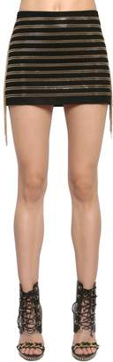Balmain Chain Stripes Cotton Twill Skirt