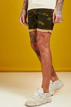 boohoo Skinny Fit Camo Print Denim Shorts