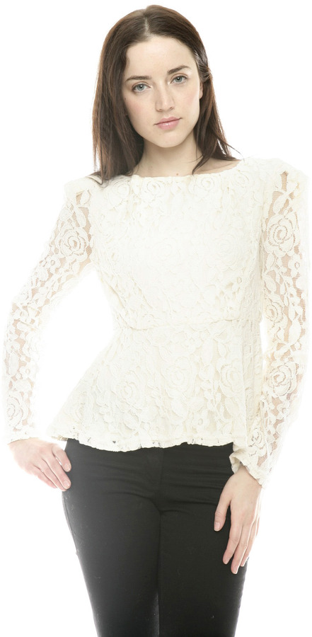 Miss Finch Lace Peplum Top