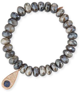Sydney Evan Faceted Dark Australian Moonstone Bracelet with Diamond Teardrop Charm