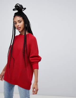 Monki longline textured jumper in red