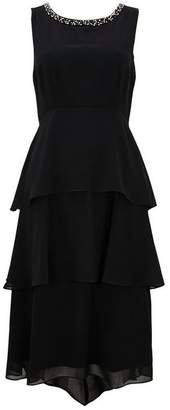 Wallis Black Embellished Tiered Overlay Dress