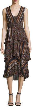 A.L.C. Hayley Sleeveless Tiered Multipattern Midi Dress, Brown/Multicolor