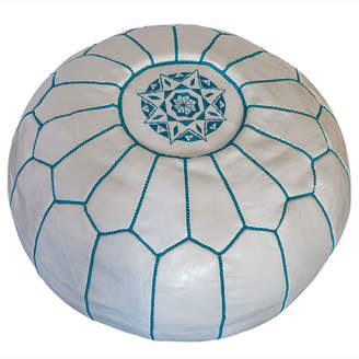 White & Turquoise Marrakesh Traditional Stitch Ottoman Cover
