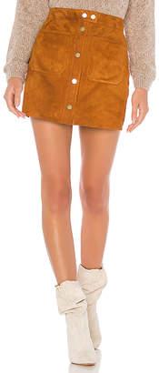 Frame Patch Pocket Suede Skirt