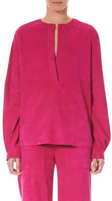 Carolina Herrera Split-Neck Long-Sleeve Suede Blouse