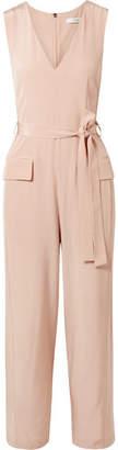 Tibi Belted Silk Crepe De Chine Jumpsuit - Blush