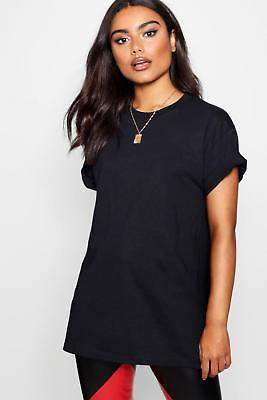 boohoo NEW Womens Basic Oversized T-Shirt in Polyester 5% Elastane