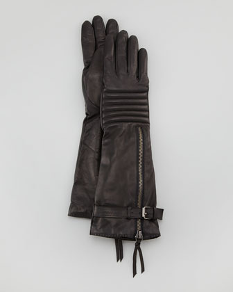 Portolano Quilted Long Leather Zip Smart Gloves, Black
