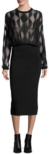 DKNY Long-Sleeve Blouson Combo Dress, Black
