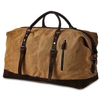 BRASS TACKS Leathercraft Men's Genuine Leather and Heavy Duty Canvas Vintage Style Utility Classic Doctor Duffel Weekend Work Bag w/Shoulder Strap