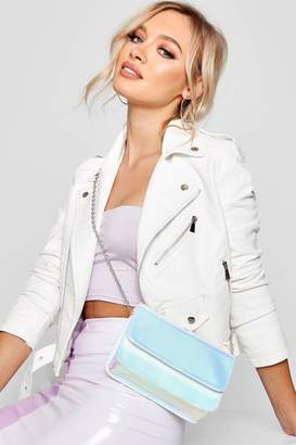 boohoo Silver Holographic Cross Body Bag