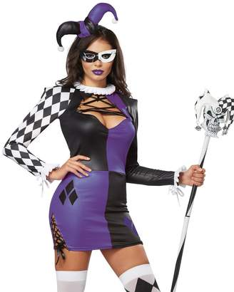 California Costumes Women's Naughty Jester Sexy Mardi Gras Carnival Costume, Purple/Black