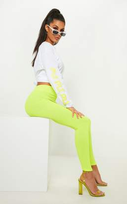 PrettyLittleThing Neon Yellow Ribbed High Waisted Legging