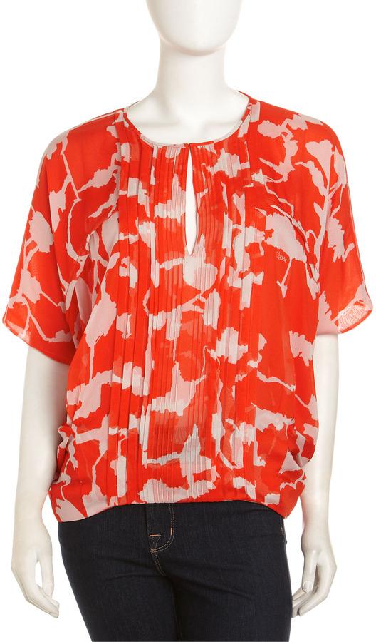 Diane von Furstenberg Khalila Chiffon Blouse, Forest Weave Red