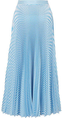 Paul & Joe Solaire Pleated Striped Satin-twill Midi Skirt - Blue