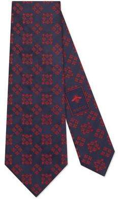 Bees and stars squares silk tie