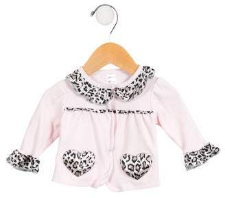 Miniclasix Girls' Satin-Trimmed Ruffled Cardigan