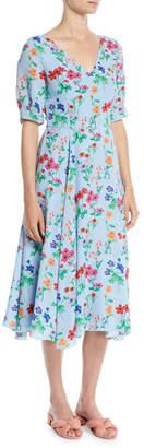 Novis Fleetwood V-Neck Half-Sleeve Floral-Print Midi Silk Dress