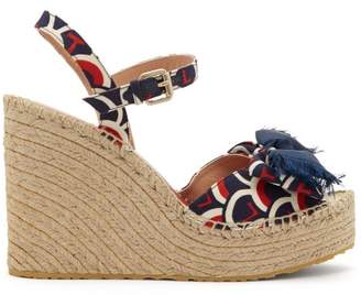 Valentino Scale Print Canvas Twill Espadrille Wedges - Womens - Blue Multi