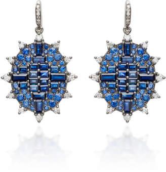 "Nam Cho 18K White Gold"" Sapphire and Diamond Earrings"