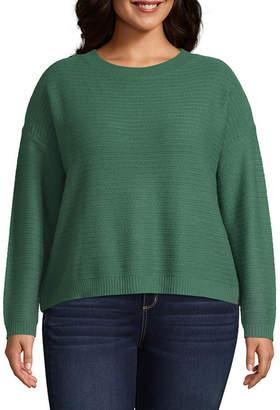 Arizona Womens Crew Neck Long Sleeve Striped Pullover Sweater-Juniors Plus