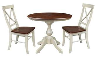 """INC International Concepts 36"""" Round Extension Dining table with 2 X-Back Chairs - Set of 3 Pieces"""