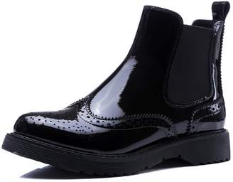 A-BUYBEA Women's Wingtips Brogue Low Heel Ankle-high Genuine Leather Chelsea Boots Patent 9