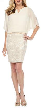 Scarlett Short Sleeve Embellished Floral Print Sheath Dress