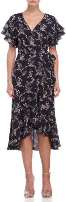 Max Studio Floral Wrap Crepe Dress