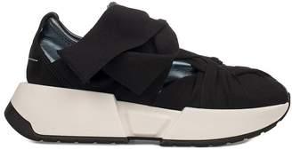 MM6 MAISON MARGIELA Blue/black Metallic Faux Leather Slip On Wedge Sneakers