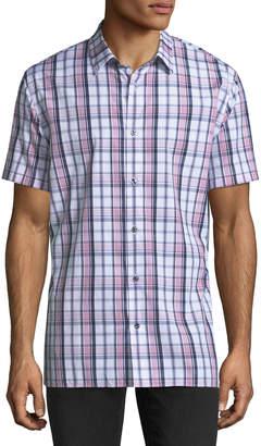 Vince Plaid Short-Sleeve Shirt, Rose