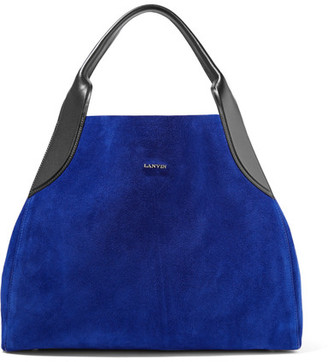 Lanvin - Cabas Leather-trimmed Suede Shoulder Bag - Bright blue $1,620 thestylecure.com