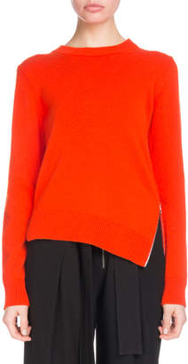 Proenza Schouler Crewneck Long-Sleeve Asymmetric Zip-Hem Cashmere-Blend Sweater