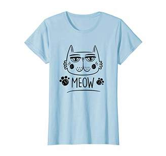 Womens Meow - Kitty Cat Gift - Cute Cat Mom & Crazy Cat Lady T-Shirt