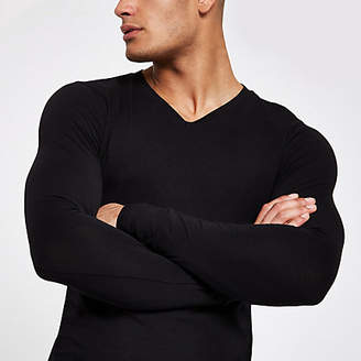 River Island Black v neck muscle fit T-shirt