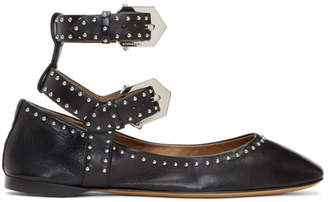 Givenchy Black Double Buckle Soft Ballerina Flats