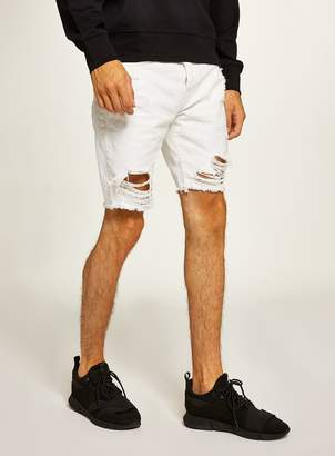 Topman White Ripped Slim Shorts