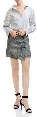 Maje Raime Mixed Print Mini Shirt Dress
