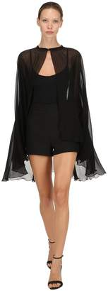 Giambattista Valli Flared Silk Chiffon Cape