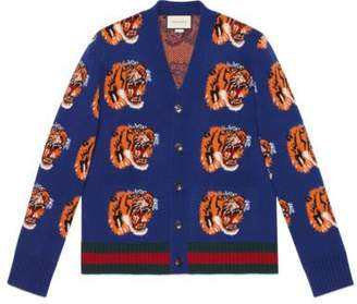 Gucci Tiger jacquard wool cardigan