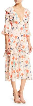 Borgo De Nor V-Neck 3/4-Sleeve Ruffled Butterfly & Floral Print Midi Dress