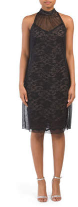 Sleeveless Lace Dress With Mesh Overlay