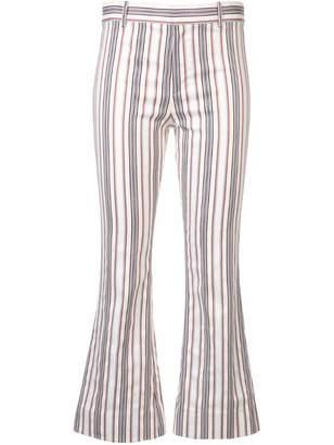 Derek Lam 10 Crosby Striped Indigo Twill Cropped Flare Trouser
