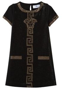 Young Versace Black Diamante Palazzo and Medusa Diamante Jersey Dress