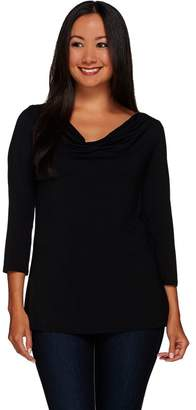 Halston H By H by Knit Cowl Neck Top with Woven Back Detail
