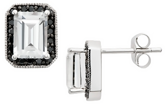 1 5/8 Carat White Topaz & Black Diamond 10K White Gold Earrings