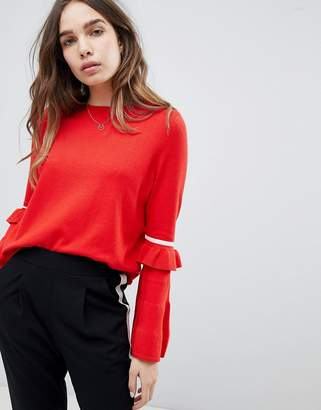 Only Round Neck Sweater With Ruffle Stripe Sleeve